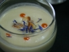 Vichyssoise Soup Shot with Rosemary Croutons and Red Pepper Oil